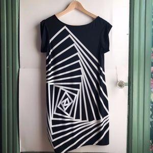 BCBGMAXAZRIA Black White Grid Short Sleeve Dress